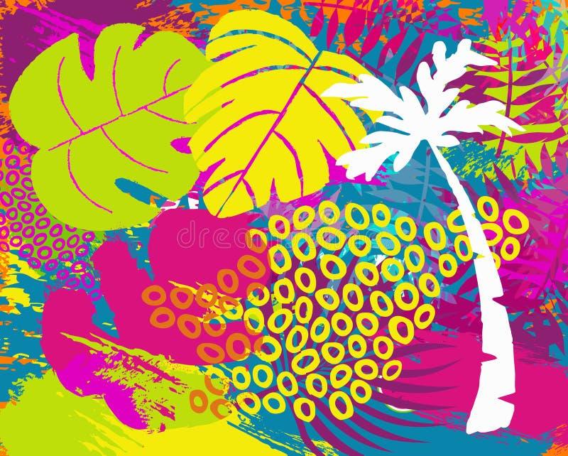 Arte abstrato tropical da folha da planta da selva do verão ilustração do vetor