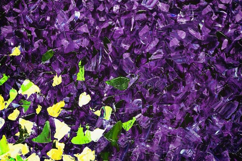 Arte acrillic viola pittoresca della pittura astratta della mano, punti variopinti su tela Un colore ultravioletto di 2018 anni p immagini stock libere da diritti