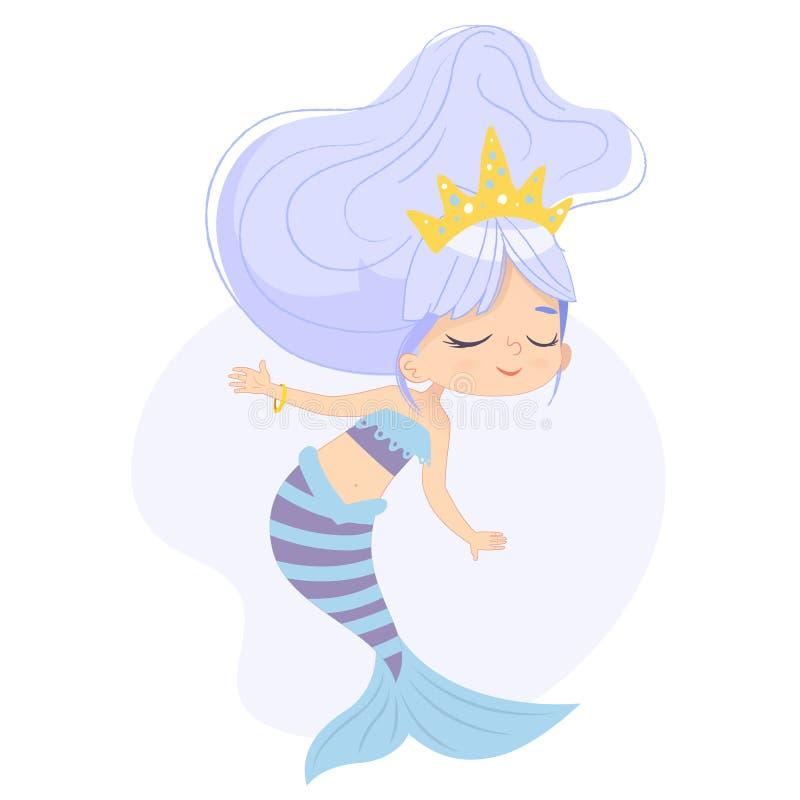 Arte adorabile dell'acquerello del carattere del bambino della sirena sveglia Crisalide mitica adorabile di bellezza subacquea de royalty illustrazione gratis