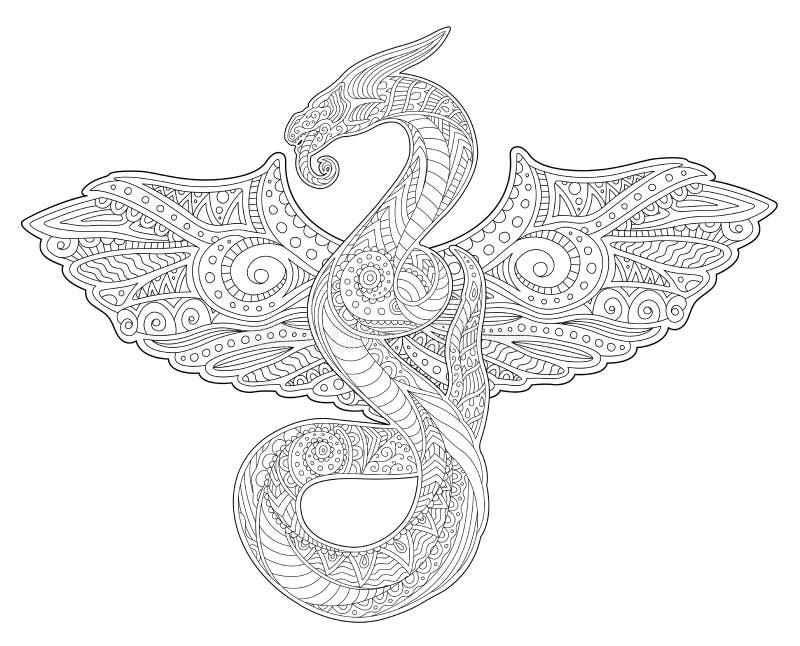Arte adulto del libro de colorear con la serpiente y las alas ilustración del vector