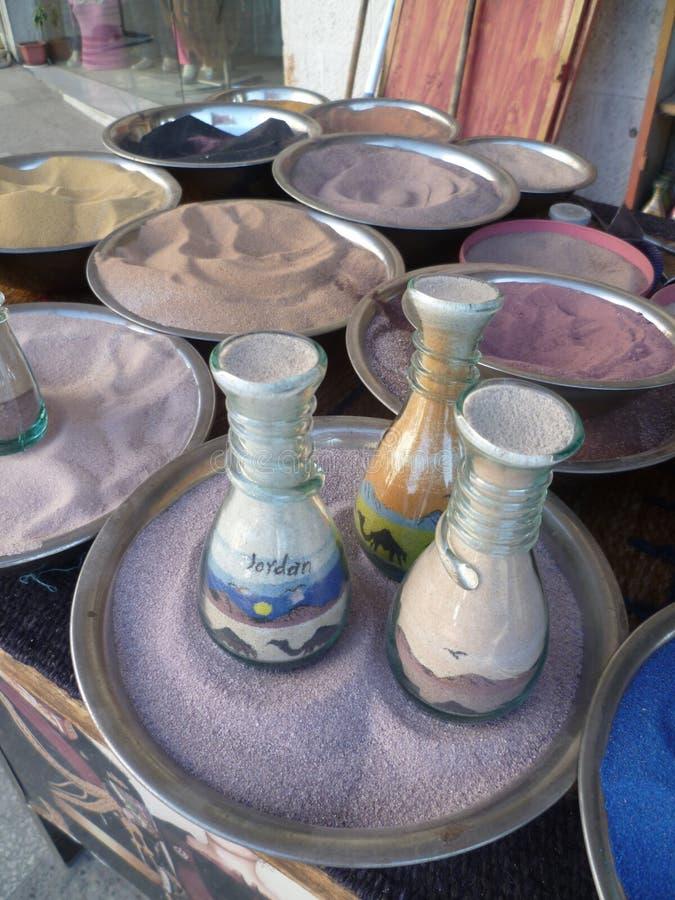 Arte araba della bottiglia della sabbia immagine stock