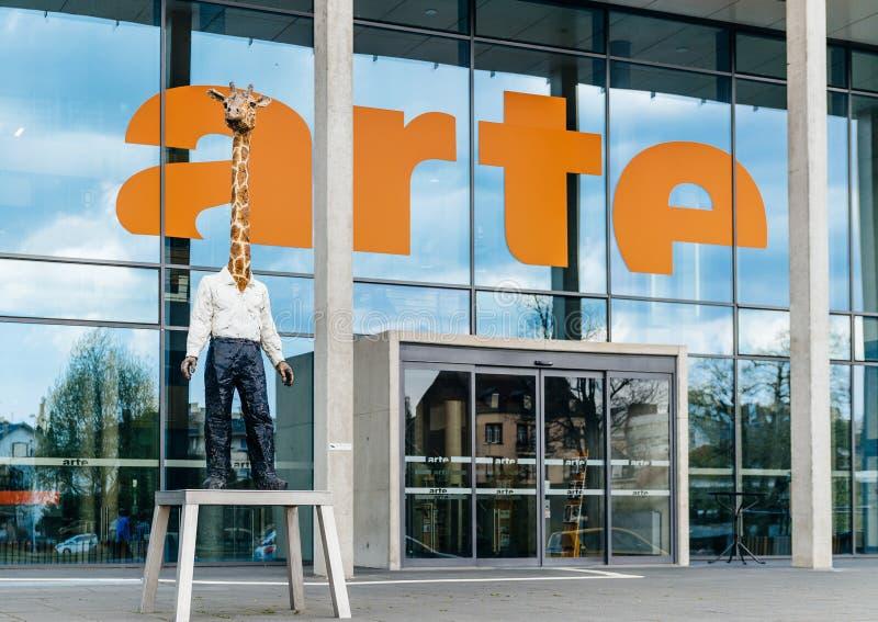 Arte Association Relative un siège social de télévision d'Europeenne de télévision de La photo libre de droits