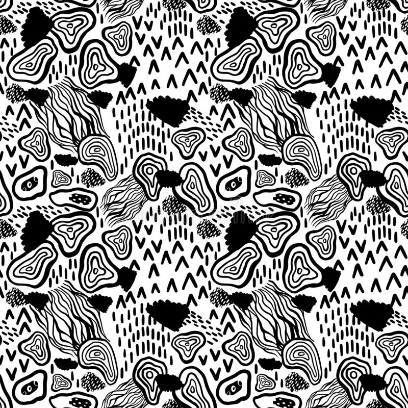 Arte astratta senza cuciture del modello Struttura con i colpi dipinti a mano della spazzola dell'incrocio per la stampa Fondo di illustrazione vettoriale