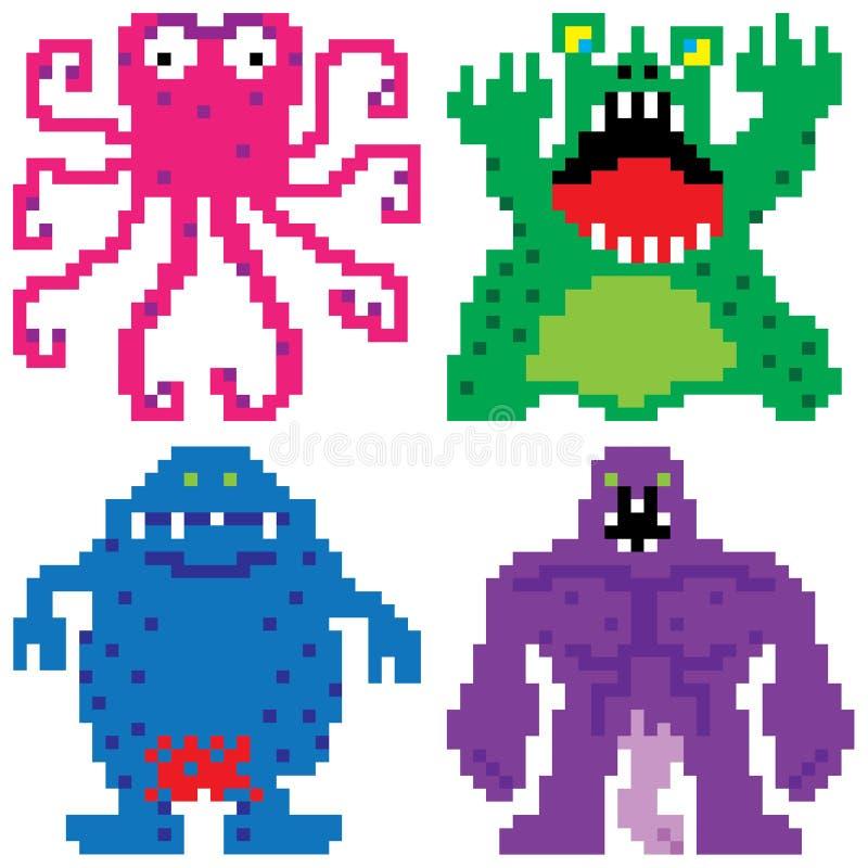 Arte aterrorizante del pixel de los monstruos de la pesadilla peor stock de ilustración