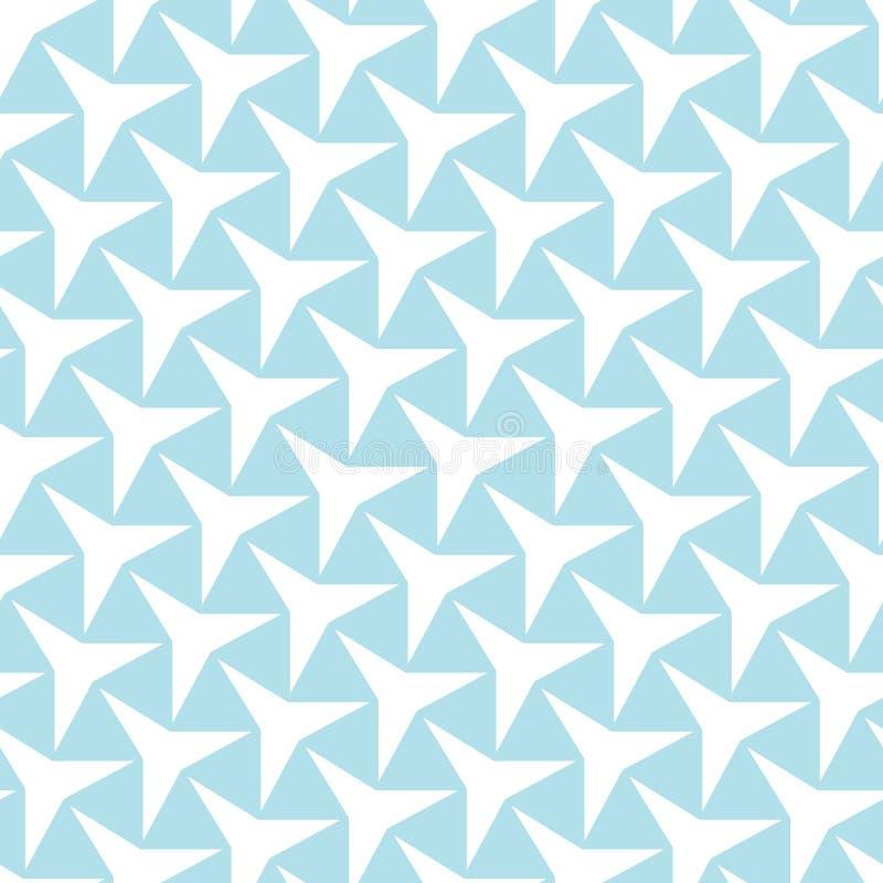 Arte azul claro del deco de la geometría abstracta modelo de estrella de tres puntos ilustración del vector