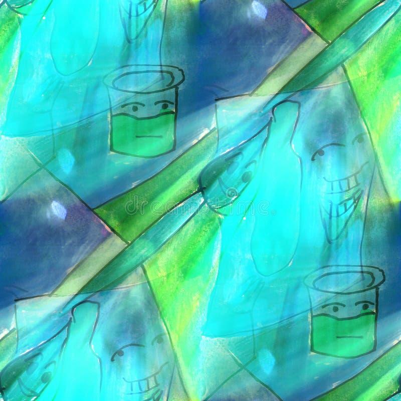 Arte azul claro, verde, banco, pintura, textura w del fondo de la historieta stock de ilustración