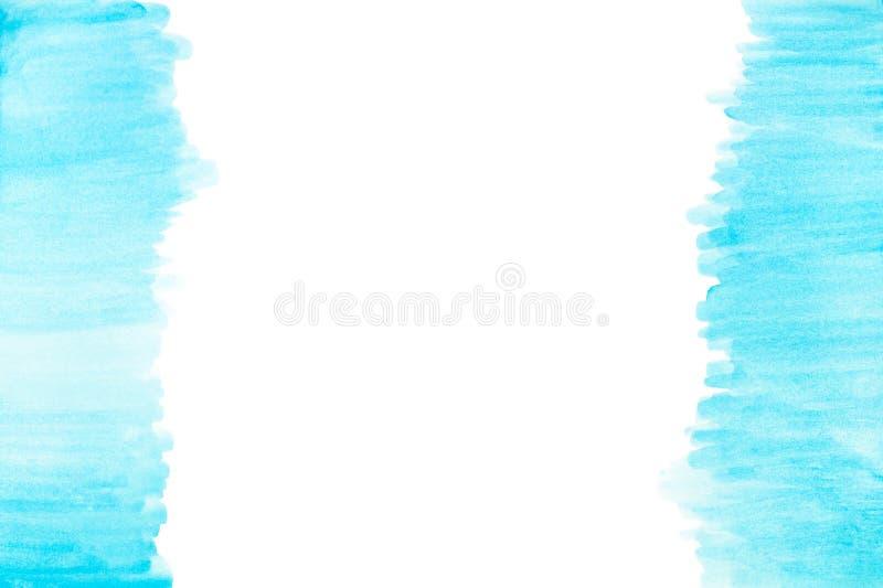 Arte azul de la textura del modelo de las sombras de la acuarela del extracto pintado a mano en el fondo blanco con el espacio de stock de ilustración