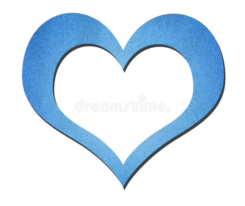 Arte azul do papel do coração isolada no branco fotografia de stock