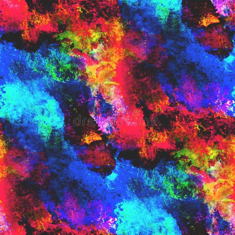 Arte azul, inconsútil amarillo, rojo, acuarela de la textura stock de ilustración