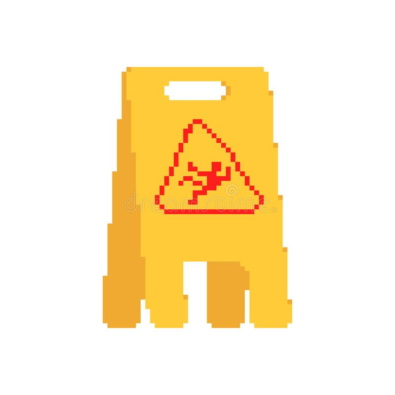 Arte bagnata del pixel del segno di giallo del pavimento incidente sdrucciolevole di cautela di 8 bit illustrazione vettoriale