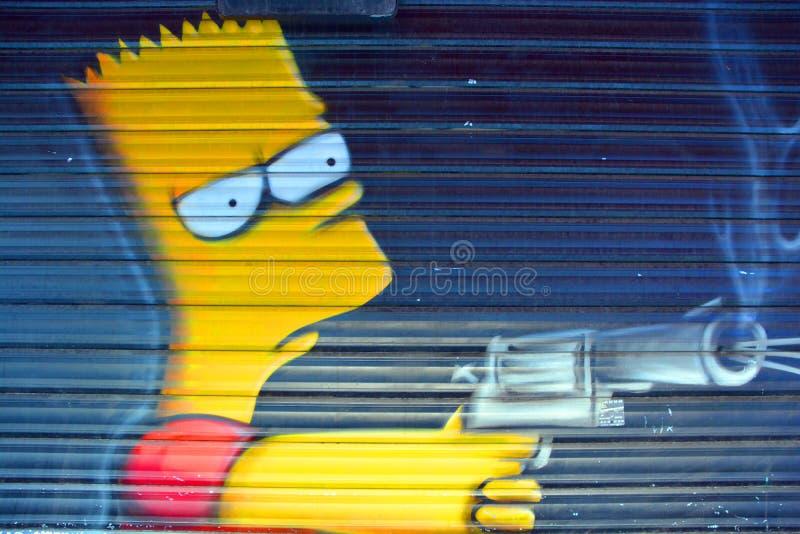 Arte Bart Simpson della via fotografie stock libere da diritti