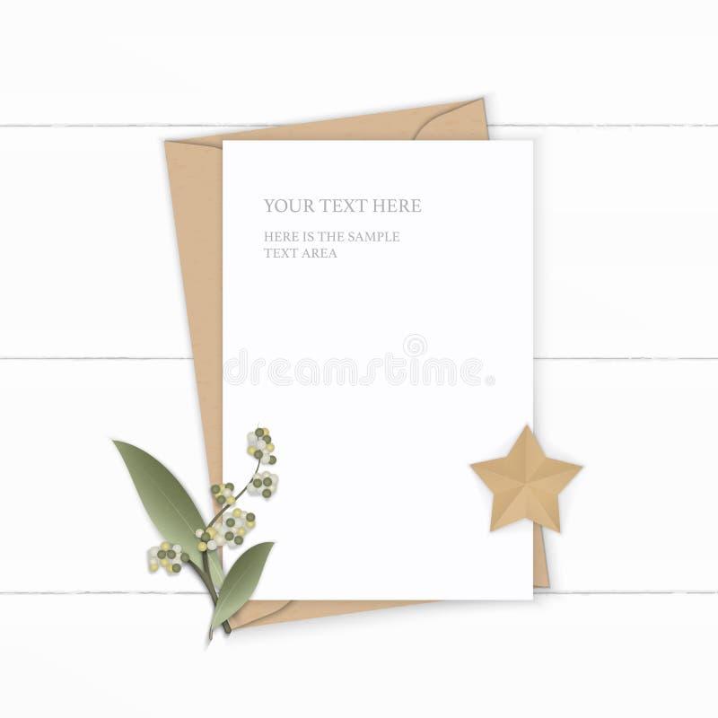 Arte blanco elegante puesto plano de la forma de la hoja y de la estrella de la flor del sobre del papel de Kraft de la letra de  stock de ilustración