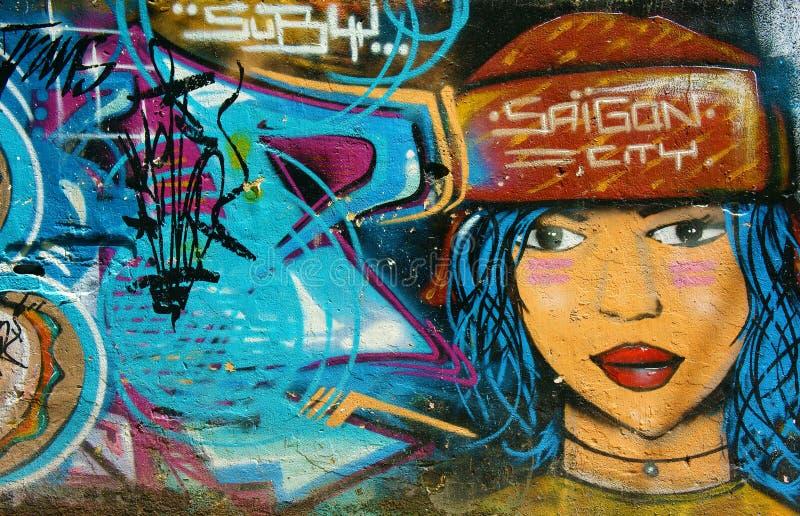 Arte bonita, colorida dos grafittis, rua de Vietname fotografia de stock