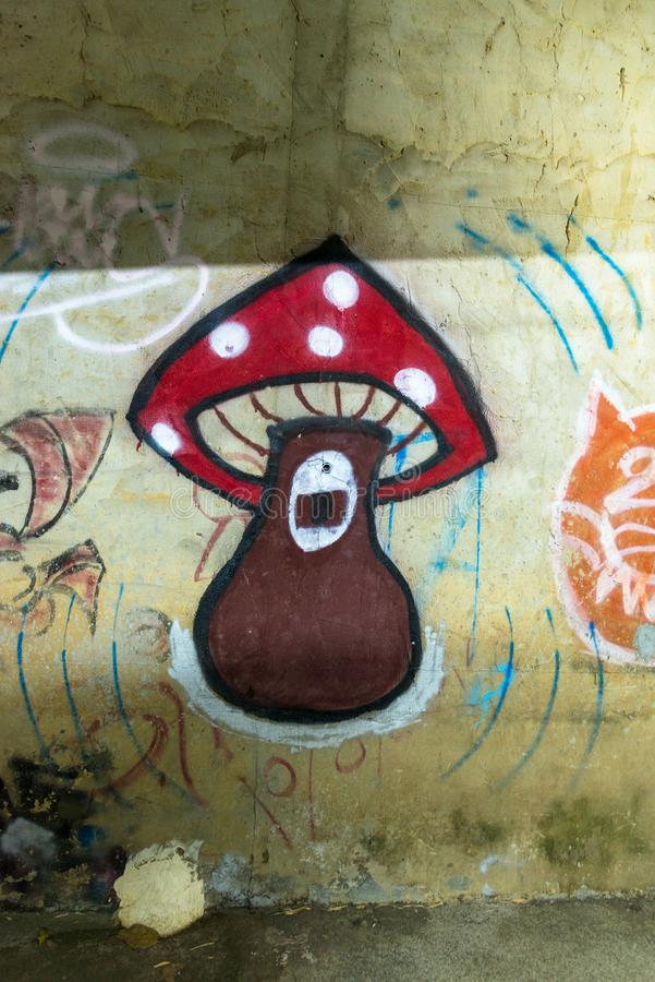 Arte bonita da rua fragmento dos grafittis imagens de stock