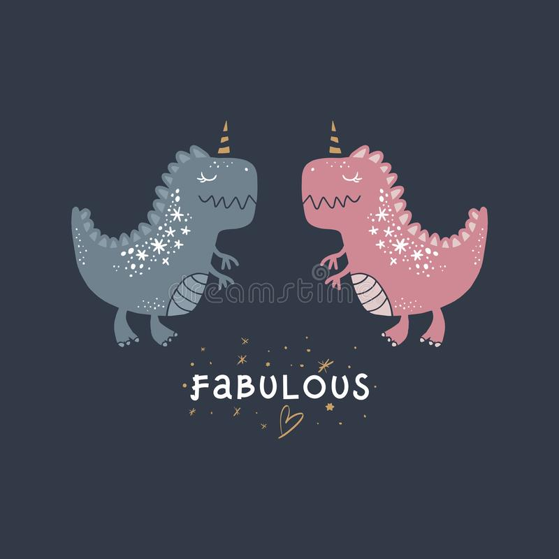 Arte bonito dos dinossauros do bebê do vetor Ilustração do berçário ilustração stock
