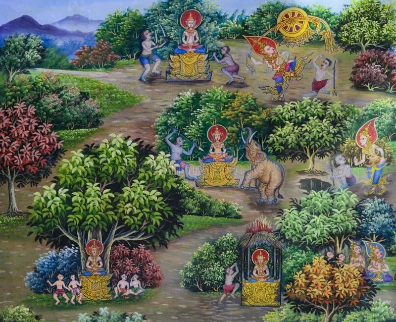 Arte buddista murala tailandese immagini stock