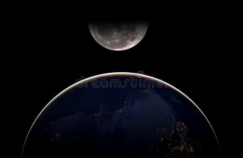 Arte cósmica criativa lua e terra na galáxia do espaço escuro Os elementos desta imagem forneceram por NASA f imagem de stock