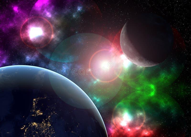 Arte cósmica criativa lua e terra na galáxia do espaço escuro Os elementos desta imagem forneceram por NASA f ilustração do vetor
