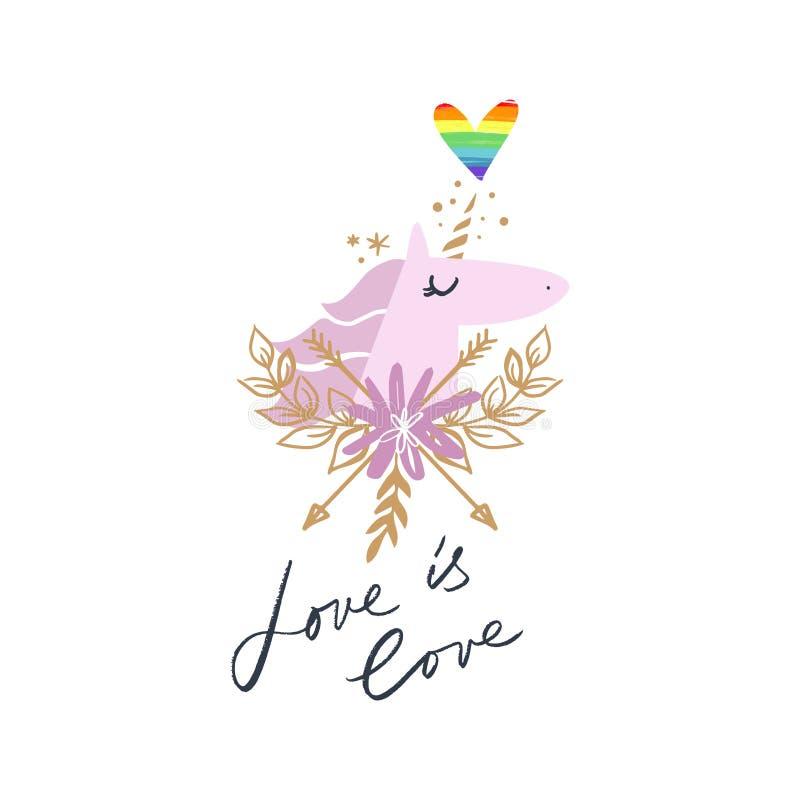 Arte capa dell'unicorno, illustrazione di tema di LGBT Vettore ed immagine di jpg illustrazione vettoriale