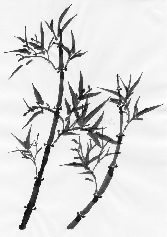 Arte chinesa: bambu ilustração royalty free
