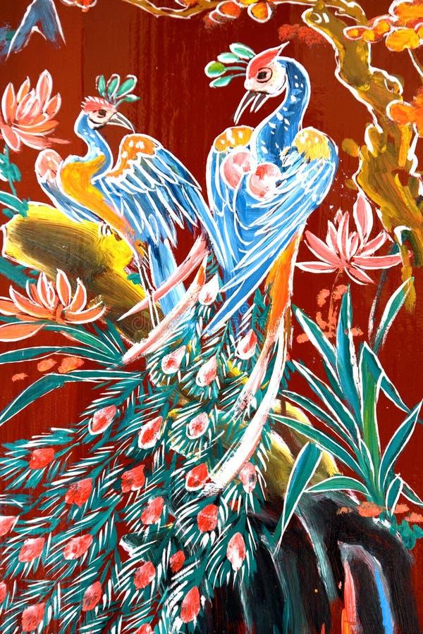 Arte chinesa da parede do templo ilustração do vetor