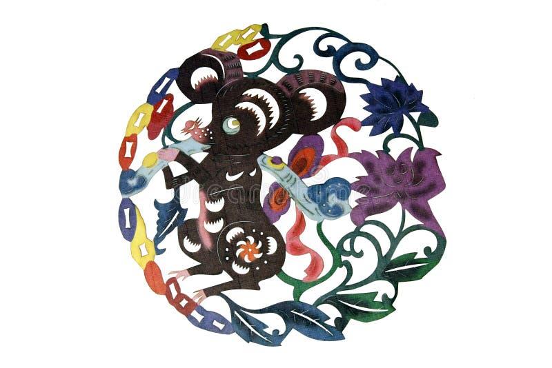 A arte chinesa de pano papel-cortou ilustração royalty free