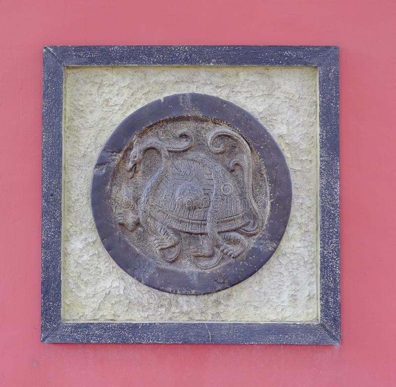 Arte chino, imagen del bajorrelieve de la tortuga fotos de archivo