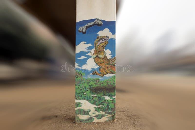 arte Chucho-temático en el parque central, Ellum profundo, Tejas de la corteza imagenes de archivo