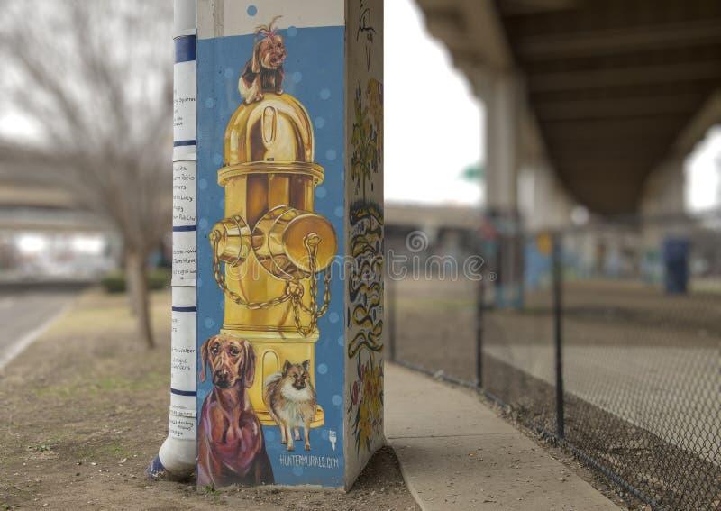 arte Chucho-temático en el parque central, Ellum profundo, Tejas de la corteza foto de archivo libre de regalías