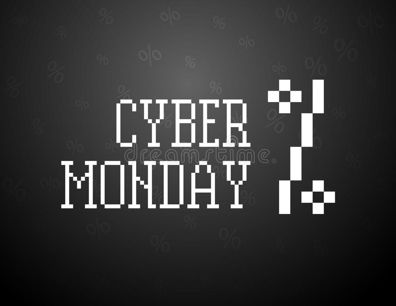 Arte cibernético del texto del pixel de lunes Ejemplo del negro de la venta de las compras ilustración del vector