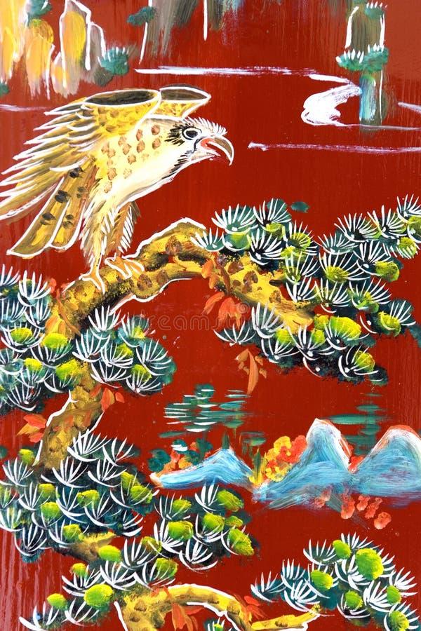 Arte cinese della parete del tempiale illustrazione di stock