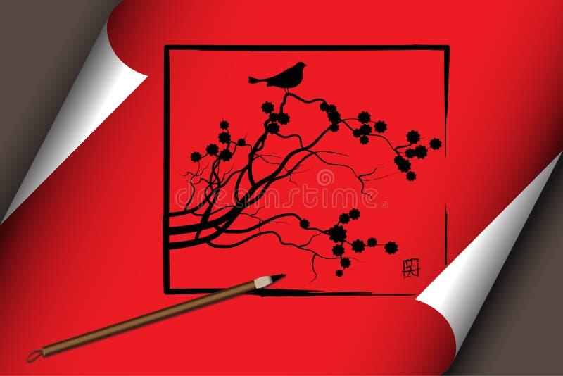 Arte cinese sul rotolo rosso con la natura illustrazione vettoriale