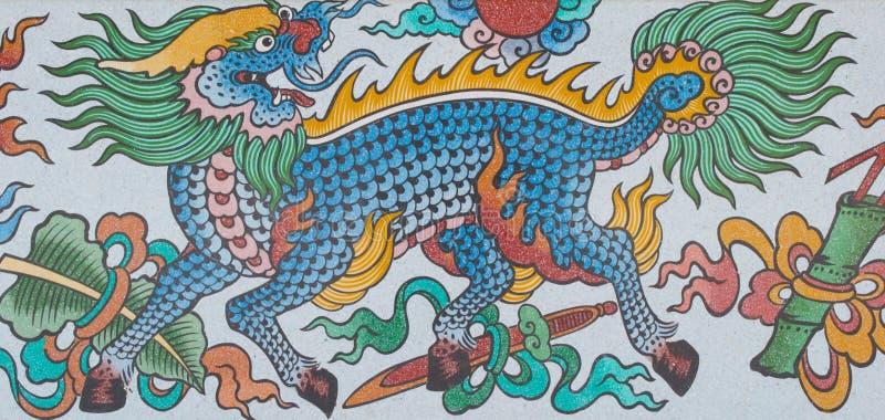 Arte cinese sulle pareti fotografia stock