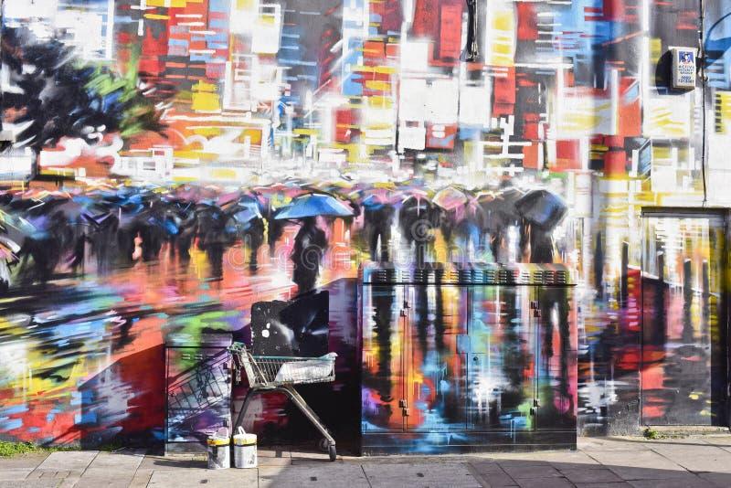 Arte colorida da rua dos grafittis em Londres, Camden Town imagens de stock