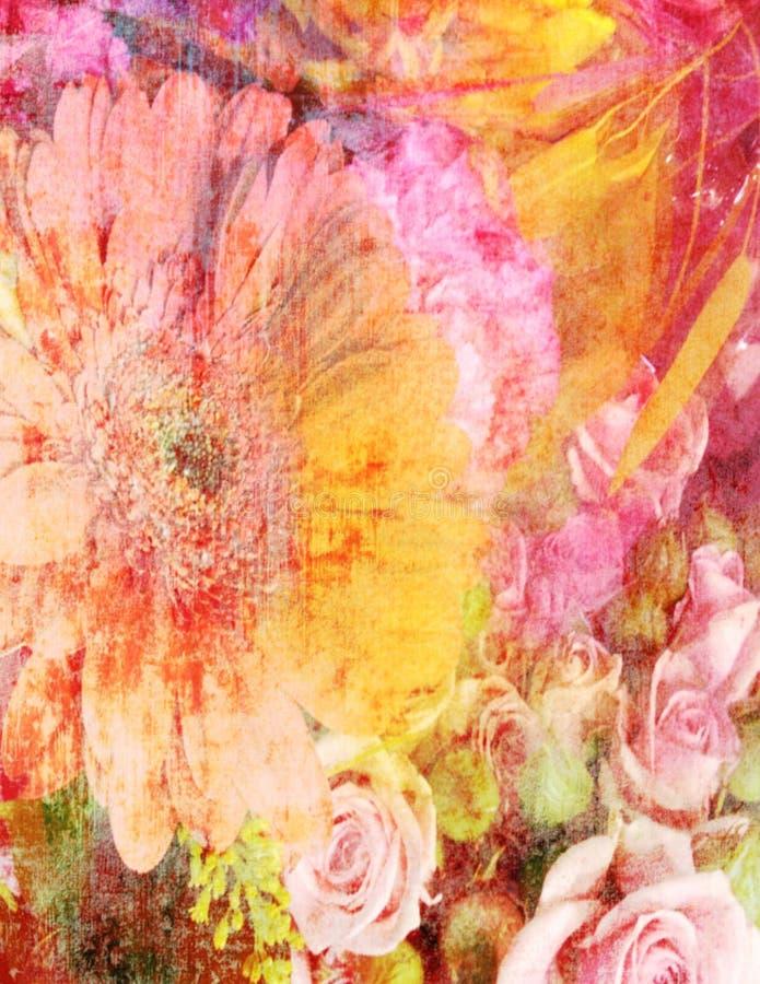 Arte colorida do Grunge das rosas florais ilustração stock