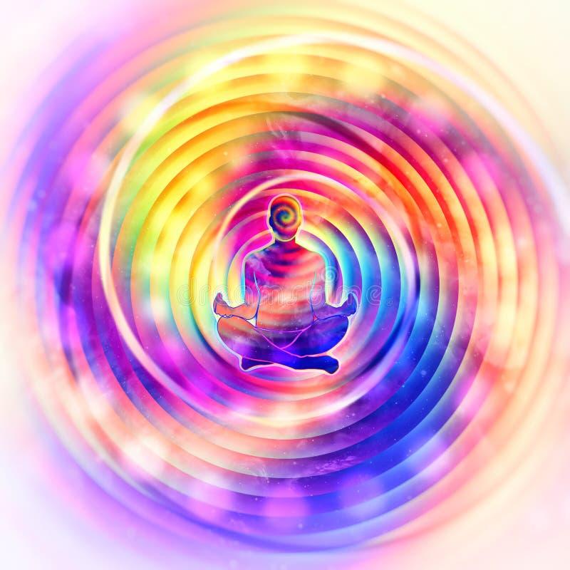 Arte colorida do sumário do poder da meditação ilustração royalty free