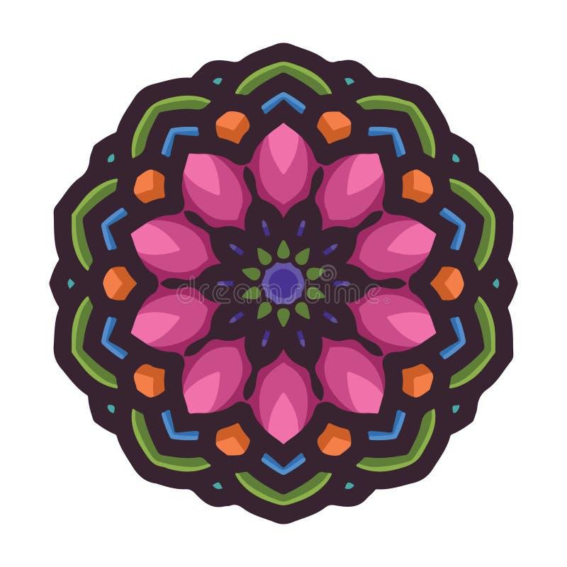 Arte colorida tirada mão da mandala do vetor com o ornamento étnico floral do sumário Ornamento tribal Ilustração da garatuja da  ilustração stock