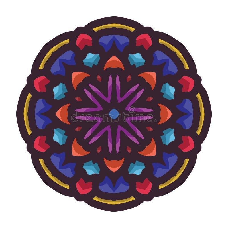 Arte colorida tirada mão da mandala do vetor com o ornamento étnico floral do sumário Ornamento tribal Ilustração da garatuja da  ilustração royalty free