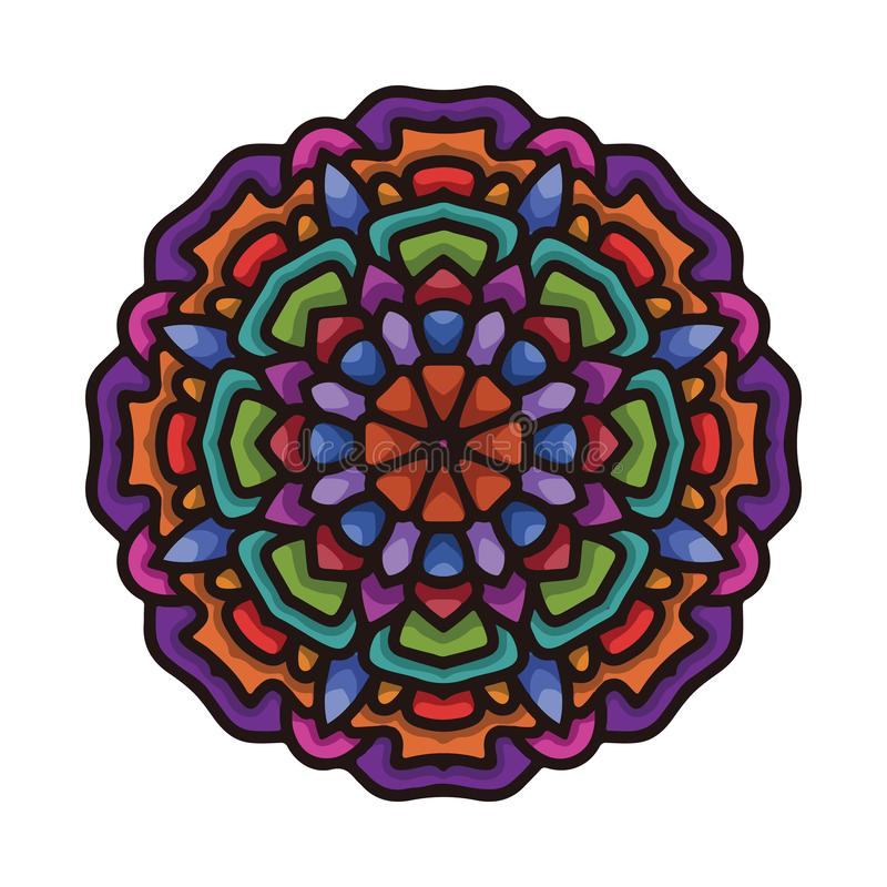 Arte colorida tirada mão da mandala do vetor com o ornamento étnico floral do sumário Ornamento tribal Ilustração da garatuja da  ilustração do vetor