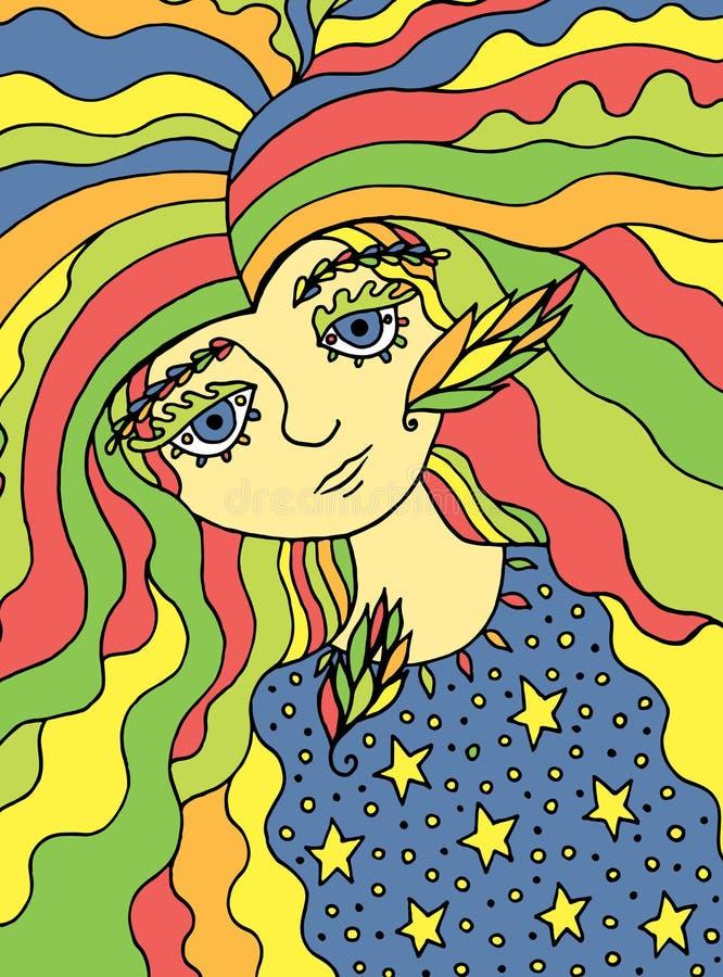 Arte colorido con la muchacha linda de la bruja del cuento de hadas Línea de color ilustraciones de la historieta del garabato Il stock de ilustración