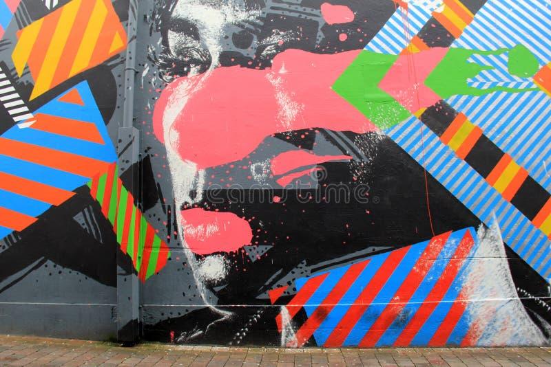 Arte colorido de la calle con la cara de la mujer en el centro, ciudad de la quintilla, Irlanda, caída, 2014 imagen de archivo libre de regalías