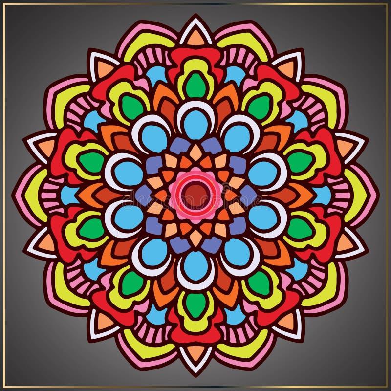 Arte colorido de la mandala del vintage con el ornamento floral libre illustration