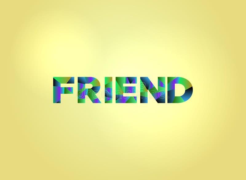 Arte colorido de la palabra del concepto del amigo stock de ilustración