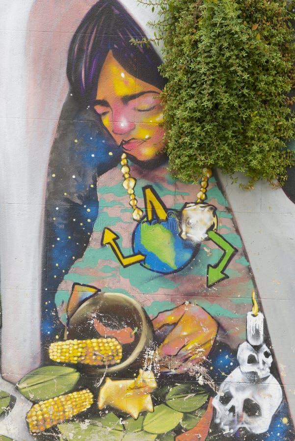 Arte colorido de la pintada en Valparaiso, Chile imagen de archivo