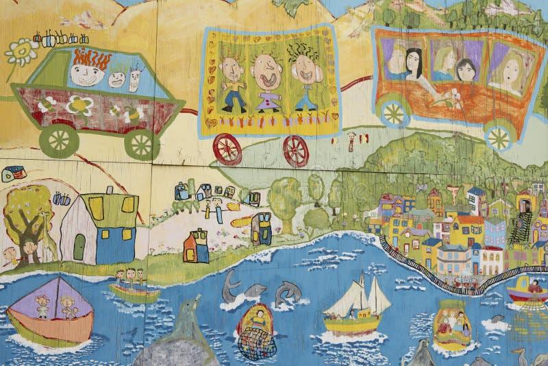 Arte colorido de la pintada en Valparaiso, Chile imágenes de archivo libres de regalías