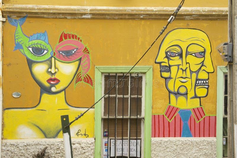 Arte colorido de la pintada en Valparaiso, Chile imagenes de archivo