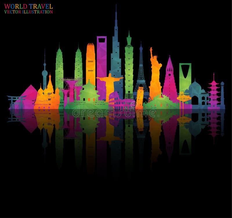 Arte colorido de la señal famosa Viaje y viaje globales adentro ilustración del vector