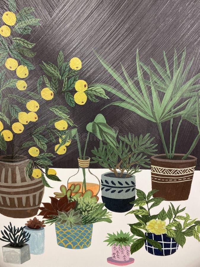 Arte com plantas e frutos foto de stock royalty free