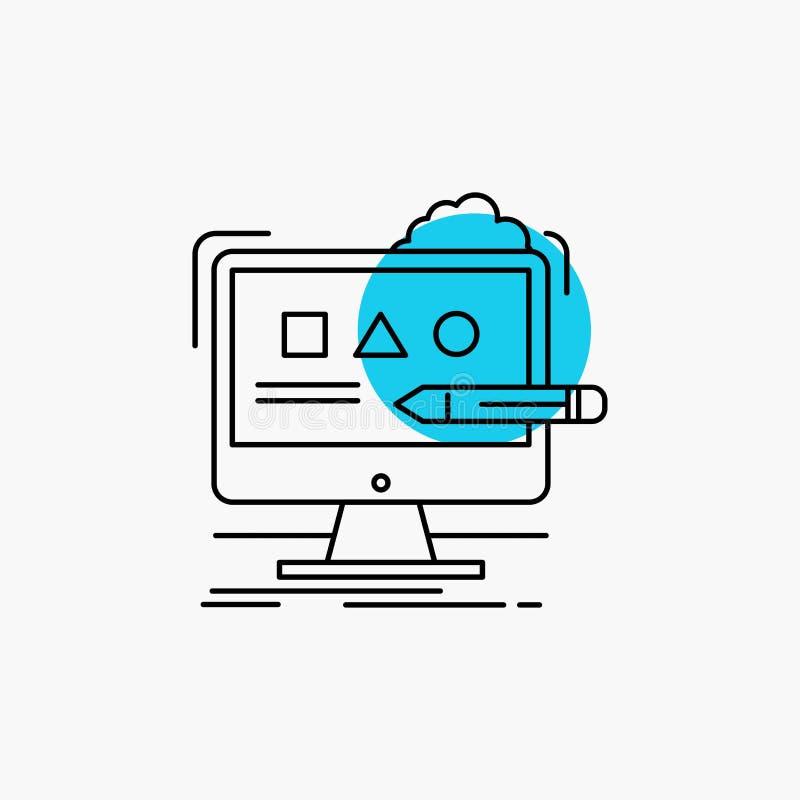 Arte, computador, projeto, digital, linha ?cone do est?dio ilustração stock