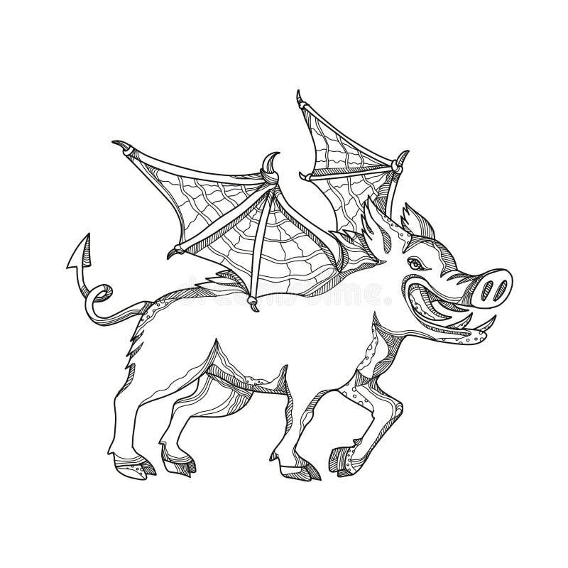 Arte con alas del garabato del jabalí stock de ilustración